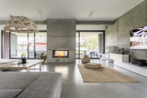 Builder Select Showhome Concrete Interior Beams And Walls Living Room